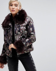 Lost Ink Jacket In Metallic Brocade With Faux Fur Trim afbeelding