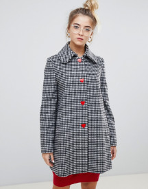 Love Moschino Reds And Gingham Wool Blend Coat afbeelding