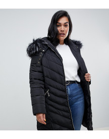 Lovedrobe Long Quilted Coat With Faux Fur Trim afbeelding
