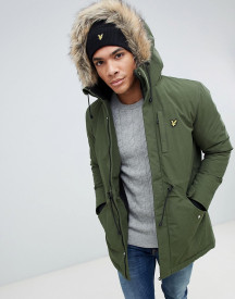 Lyle & Scott Fleece Lined Hooded Parka With Faux Fur Trim In Green afbeelding