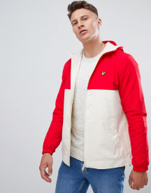 Lyle & Scott Hooded Lightweight Jacket In White/red afbeelding