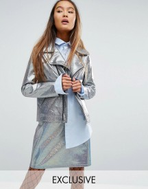 Mad But Magic Biker Jacket In Holographic Co-ord afbeelding