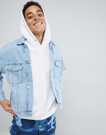 Mennace Blue Zip Sleeve Drop Shoulder Denim Jacket afbeelding