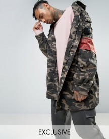 Mennace Camo Parka With Badge Detail afbeelding