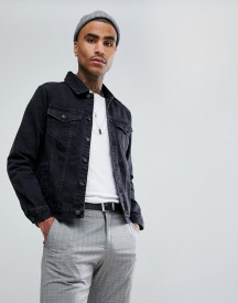 Mennace Denim Jacket In Black afbeelding