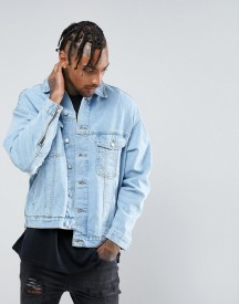 Mennace Denim Jacket With Extreme Sleeve Distressing In Light Blue afbeelding