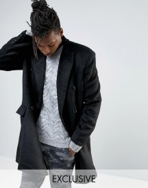 Mennace Double Breasted Wool Overcoat In Black afbeelding