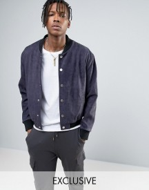 Mennace Faux Suede Bomber Jacket With Embroidery In Navy afbeelding
