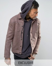 Mennace Faux Suede Western Jacket In Light Brown afbeelding