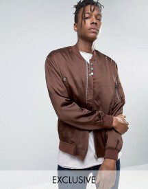Mennace Sateen Ma1 Bomber Jacket In Brown afbeelding