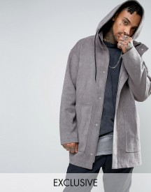 Mennace Textured Parka Coat In Grey afbeelding