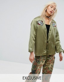 Milk It Vintage Festival Satin Jacket With Patches & Faux Fur Lining afbeelding
