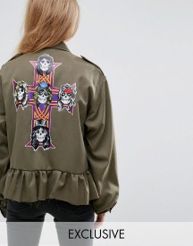 Milk It Vintage Military Band Jacket With Guns N Roses Back Print afbeelding