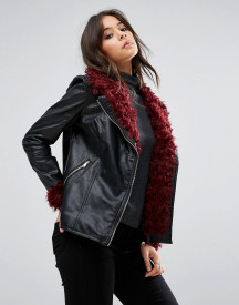 Missguided Black Faux Fur Detail Faux Leather Jacket afbeelding