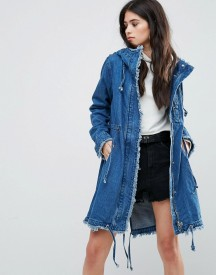 Missguided Blue Denim Hooded Raw Edge Parka afbeelding