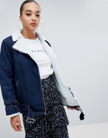 Missguided Borg Lined Denim Jacket afbeelding