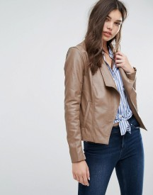 Missguided Brown Waterfall Biker Jacket afbeelding