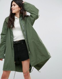 Missguided Khaki Sequin Back Oversized Parka afbeelding