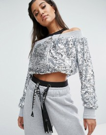 Missguided Londunn All Over Sequin Bardot Jacket afbeelding