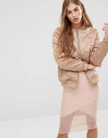Missguided Quilted Satin Bomber Jacket afbeelding