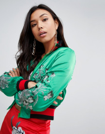 Missguided Satin Embroidered Jacket afbeelding