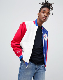 Mitchell & Ness Philadelphia 76ers Team History Warm Up Jacket In Blue afbeelding
