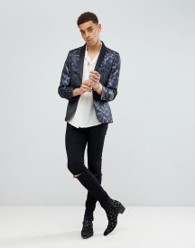 Moss London Skinny Blazer In Feather Jacquard afbeelding