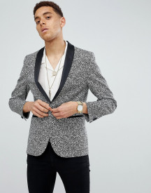 Moss London Skinny Blazer In Printed Monochrome afbeelding