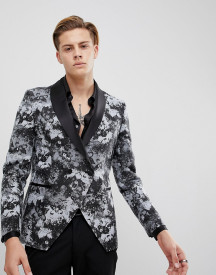 Moss London Skinny Blazer In Smoke Print afbeelding