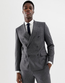 Moss London Skinny Double Breasted Suit Jacket In Wool Mix Stripe afbeelding