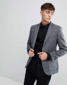 Moss London Skinny Knitted Blazer In Salt & Pepper afbeelding