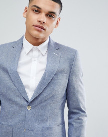 Moss London Slim Blazer In Blue Texture afbeelding