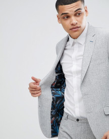 Moss London Slim Blazer In Grey Texture afbeelding