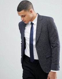 Moss London Slim Blazer In Navy Texture afbeelding