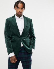 Moss London Velvet Blazer In Bottle Green afbeelding