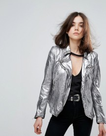 Muubaa Monteria Metallic Leather Jacket afbeelding