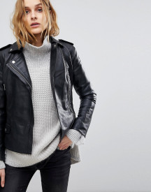 Muubaa Vila Fitted Cropped Leather Biker Jacket afbeelding