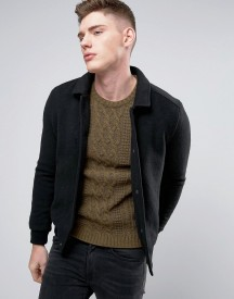 Native Youth Knitted Bomber With Canvas Collar afbeelding