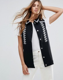 Neon Rose Embroidered Denim Gilet afbeelding