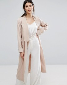 Neon Rose Relaxed Duster Coat In Hammered Satin afbeelding