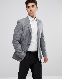 New Look Blazer In Wide Check Print In Grey afbeelding
