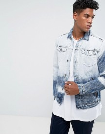 New Look Denim Jacket In Bleach Dye Wash afbeelding