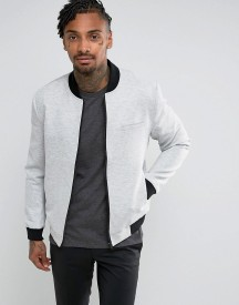 New Look Smart Jersey Bomber In Grey afbeelding