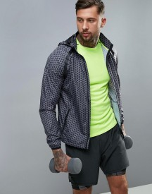 New Look Sport Hooded Jacket With Print In Black afbeelding