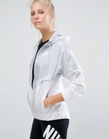 Nike Full Zip Windbreaker Jacket In Grey And White afbeelding