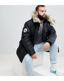 North 56.4 Plus Parka With Faux Fur Hood In Black afbeelding