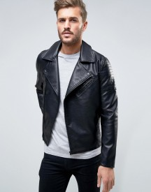 Only & Sons Biker Jacket In Faux Leather afbeelding