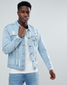 Only & Sons Denim Jacket With Bleaching And Distress afbeelding
