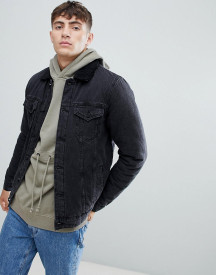 Only & Sons Denim Jacket With Full Borg Lining afbeelding