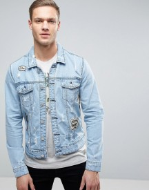Only & Sons Denim Jacket With Patches afbeelding